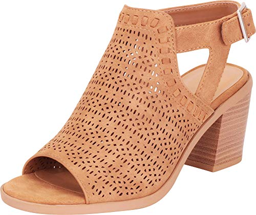 Cambridge Select Women's Open Toe Laser Cutout Perforated Chunky Stacked Heel Ankle Bootie (7 B(M) US, Tan PU)