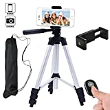 Hi-tec Aluminum Camera Cell Phone Tripod for Iphone Portable Camera Tripod + Phone Tripod Adapter + Bluetooth Remote Control Shutter for Smartphone