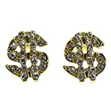 Dollar Signs Earrings Gold Tone Cash Sign Money Iced-out Men Earring Pair