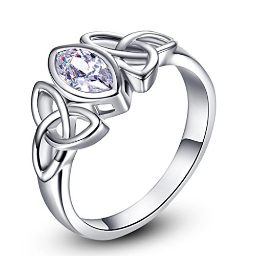 PAKULA Women's Elegant 4mmx4mm Marquise White Topaz Triquetra Celtic Knot CZ Engagement Ring Band ()