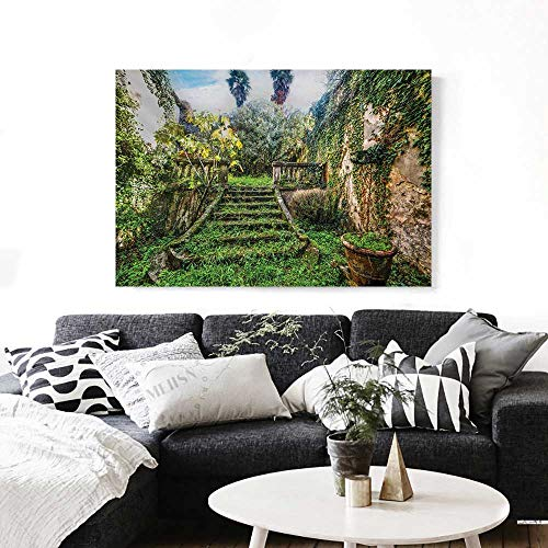 (BlountDecor Nature Canvas Wall Art for Bedroom Home Decorations Ancient Fairytale Theme Hidden Garden with Botanic Trees Flowers Ivy Image Print Art Stickers 48