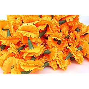 Buycrafty 5 Feet Long Strands Marigold Garlands, Flower Garland, Indian Wedding Flowers, Diwali Marigold, Set of 5, Party Decor, Wedding, Deepavali 1