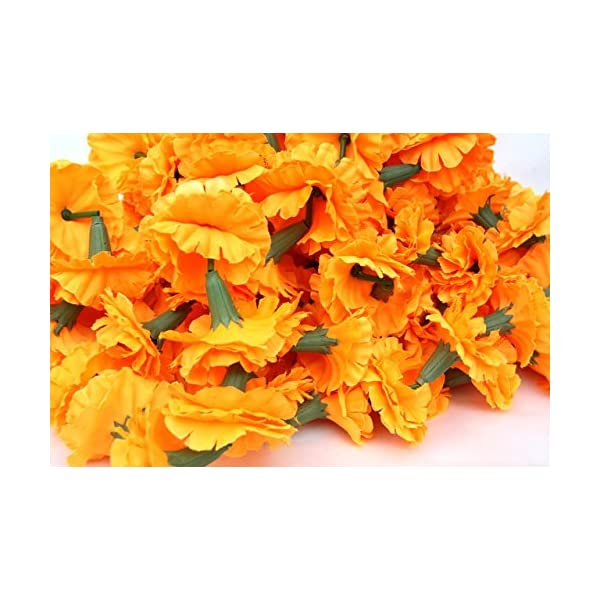 Buycrafty 5 Feet Long Strands Marigold Garlands, Flower Garland, Indian Wedding Flowers, Diwali Marigold, Set of 5, Party Decor, Wedding, Deepavali