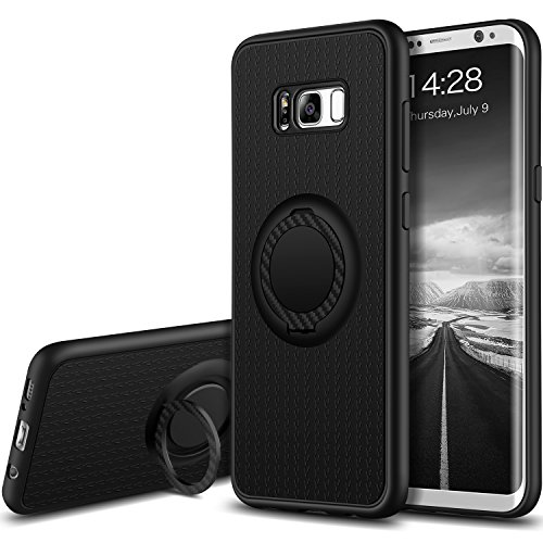 Galaxy S8 Plus Case, GeekZone Samsung Galaxy S8 Plus Ultra Slim Soft TPU Protection Case Shockproof and Anti-Scratch Back Texture Case Cover Ring Holder Kickstand