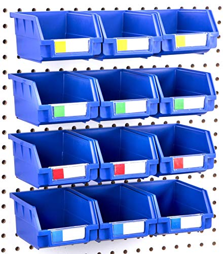 Pegboard Bins – 12 Pack Blue Large – Hooks to Any Peg Board – Organize Hardware, Accessories, Attachments, Workbench, Garage Storage, Craft Room, Tool Shed, Hobby Supplies, Small Parts