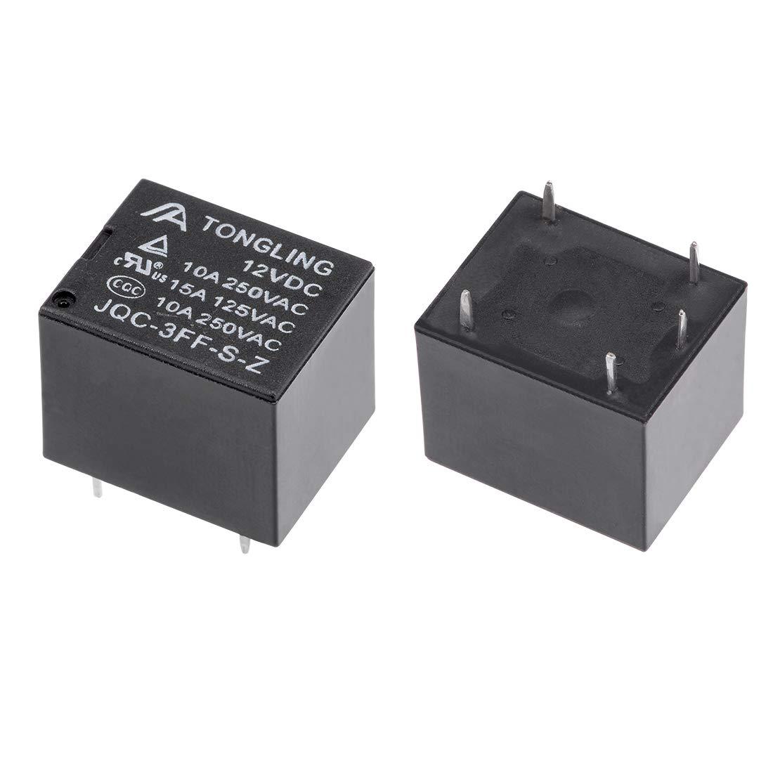 JQC-3FF-S-Z DC 12V Spule SPDT 5P PCB Elektromagnetisch Leistungsrelais DE de sourcing map 20Stk