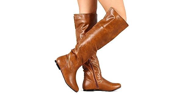 Brown Women Leatherette Cuff Round Toe Flat Boot BB99