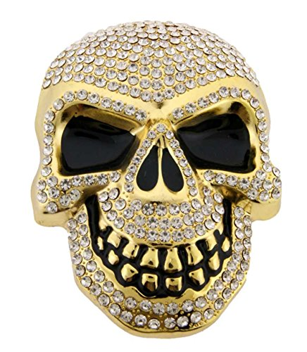 Cool Hip Hop Bling Bling Skull Rhinestones Gold Finishing Belt Buckle.