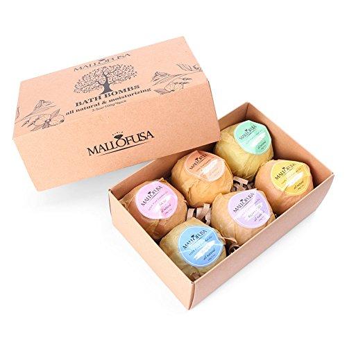 Mallofusa Bath Bomb Gift Set, 6 Natural Essential Oils Fizzies Spa Kit-Best Gift for Birthday Christmas for Women, Teen Girls, Mum-Add to Bath Bubbles Bath Basket