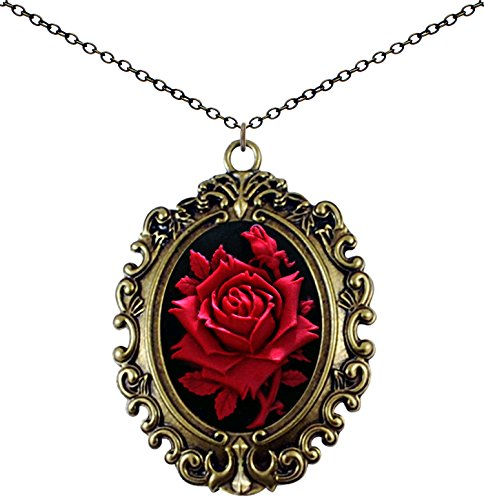 (Yspace Antique Brass Necklace Cameo Big Pendant Jewelry 2 Chain Deluxe Pouch Gift (Rose))