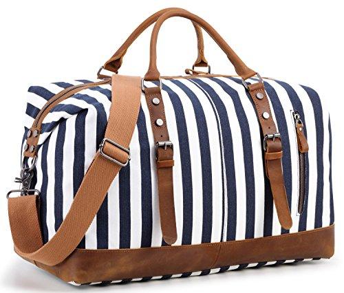 Overnight Bag Weekender Women Ladies Travel Duffel Bag Canvas Genuine Leather Luggage Weekend Tote (Blue stripe)