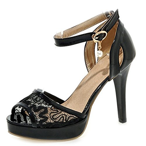 SJJH Sandals with Lace Materail and Large Wedding Party Women Sandals with Stiletto and Thick Platform Black sa7YkC