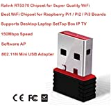 RaLink RT5370 USB WiFi Receiver / Adapter 150Mbps 802.11n Wireless Internet Dongle, Supports Windows Desktop, Laptop, Mac OS, Linux, IP TV Set Top Box Ideal for Raspberry Pi / Pi2 with installation Drivers CD