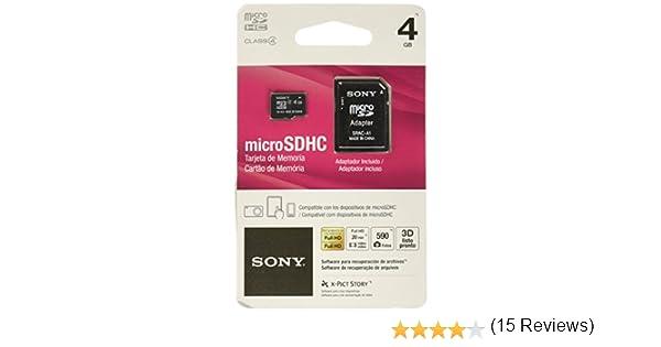 Sony SR4A4 - Tarjeta MicroSD de 4 GB (Clase 4, Adaptador SD), Color Negro