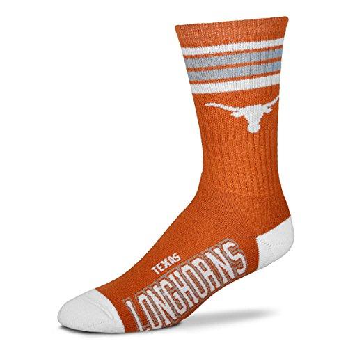 For Bare Feet NCAA 4 Stripe Deuce Crew Children (Boys/Girls) Socks (Texas Longhorns, Child (6-11)) ()
