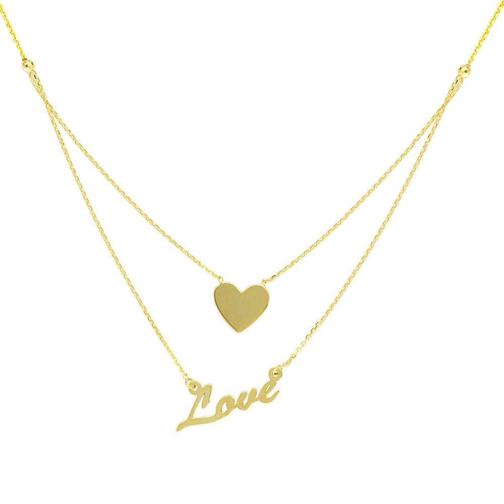LOVE AND HEAR NECKLACE, 14KT GOLD LOVE AND HEAR 18'' INCHES