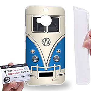 Case88 [HTC ONE M9+ (PLUS)] Gel TPU Carcasa/Funda & Tarjeta de garantía - Art Fashion Blue Retro Bus Mini Van Art1200