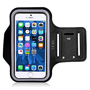 Water Resistant Cell Phone Armband: 5.2 Inch Case for iPhone X, 8, 7, 6, 6S, SE, 5, 5C, 5S, and Galaxy S5, Google Pixel - Adjustable Reflective Velcro Workout Band, Key Holder & Screen Protector