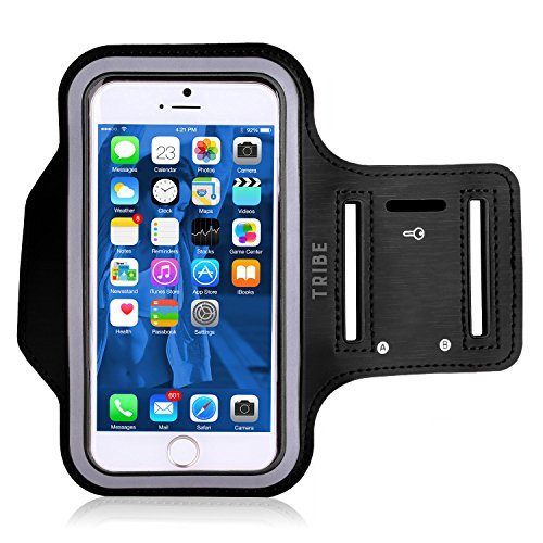 Water Resistant Cell Phone Armband: 5.2 Inch Case for iPhone X, 8, 7, 6, 6S, SE, 5, 5C, 5S, and Galaxy S5, Google Pixel - Adjustable Reflective Velcro Workout Band, Key Holder & Screen Protector from Tribe