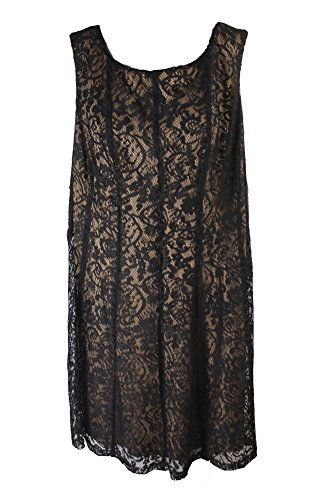 Apparel Connected Black Size Plus Lace Dress W Sleeveless A Line PwwR6