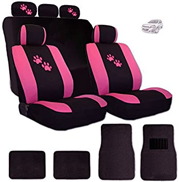 Amazon Com Yupbizauto 2 Tone Black And Pink Polyester Cloth With Pink Paws Logo Front And Rear Car Seat Covers With 4 Black Color Carpet Floor Mats Set Support 50 50 60 40 Rear Split Seat Automotive