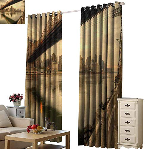 - Homrkey Printed Curtain United States Queensboro Bridge Spanning The East River in New York City Serene Scenery Tie Up Window Drapes Living Room W108 xL84 Tan Egg Shell
