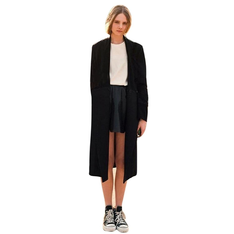 ZIYUO(TM) Womens Open Front Trench Coat Long Cloak Jackets Overcoat Waterfall Cardigan (XXXL, Black)
