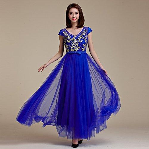 MEI&S Vintage mujer elegante vestido de Prom Larga Noche Maxi vestido de fiesta Azul