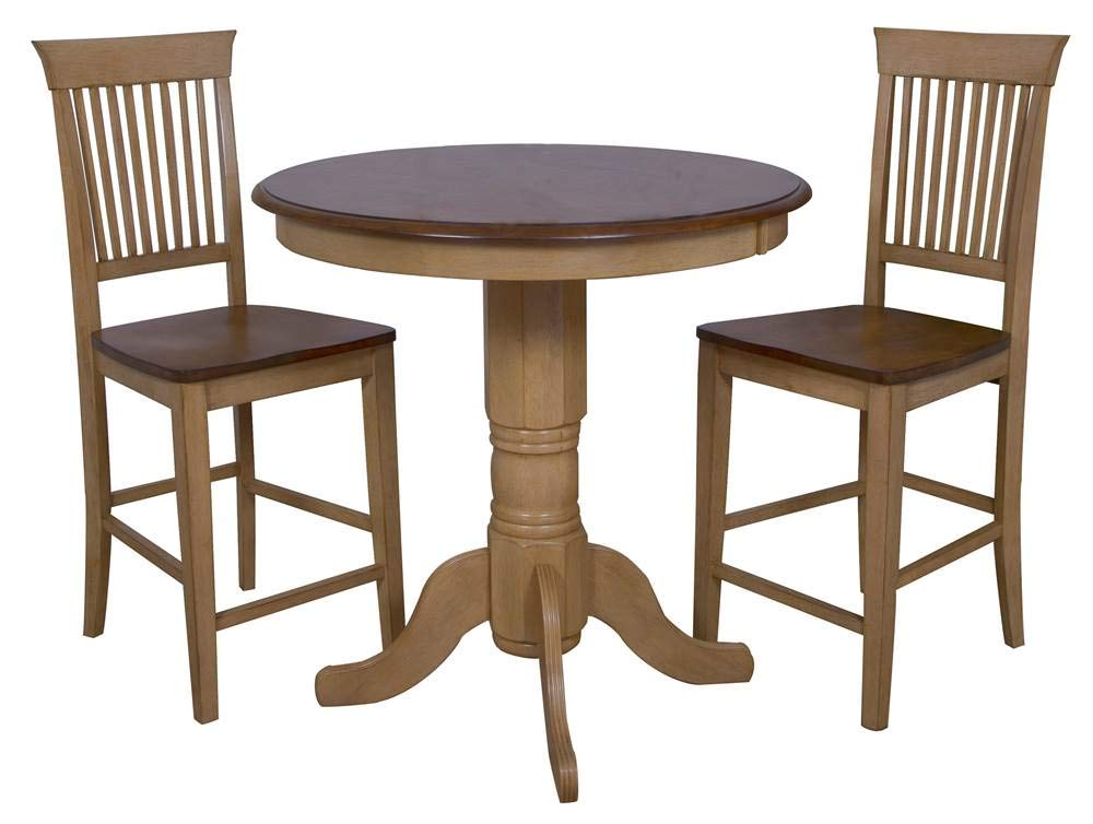 Sunset Trading 3-Pc Fancy Slat Back Pub Table Set by Sunset Trading