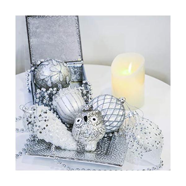 Valery Madelyn Palle di Natale Vetro Addobbi Natalizi Set, 10 Pezzi 10-15cm Silver And White Palline di Natale Decoration for Addobbi Natalizi per Albero 7 spesavip
