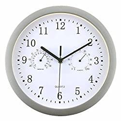 Foxtop Battery Operated Silent Non-ticking Indoor Wall Clock with Temperature & Humidity ,Glass Cover (Silver)