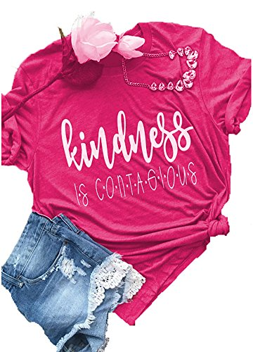Enmeng Womens Short Sleeve Kindness is Contagious T Shirt Casual Letter Printed Tee Tops (XL, Hot Pink)