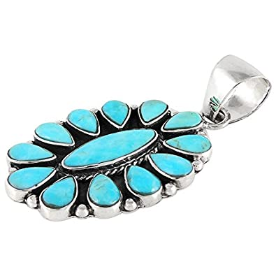 Turquoise Necklace 925 Sterling Silver Genuine Turquoise Pendant 20