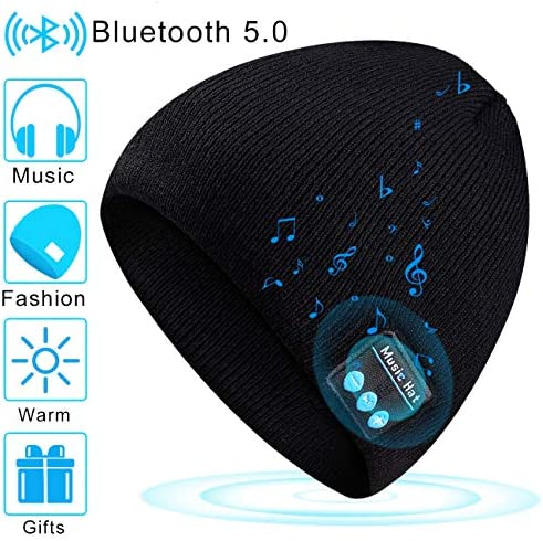 Bluetooth Beanie Hat V5.0 Knit Cap Unisex Gifts for Men Women Winter Warm Washable Music Hat Built-in Stereo Speaker Microphone