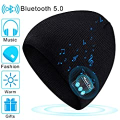 Bluetooth Beanie designed for winter, warm your head and enjoy music, the music cap is made of 100% cotton material, soft and warm, and protects you on cold days, with built-in dual stereo speakers Super bass and clear treble, built-i...