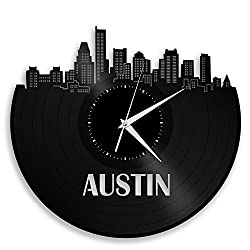 VinylShopUS Austin Skyline Vinyl Record Wall Clock Cityscape Art Cool Unique Gift for Men Women Birthday Anniversary Room Home Room Office Decor