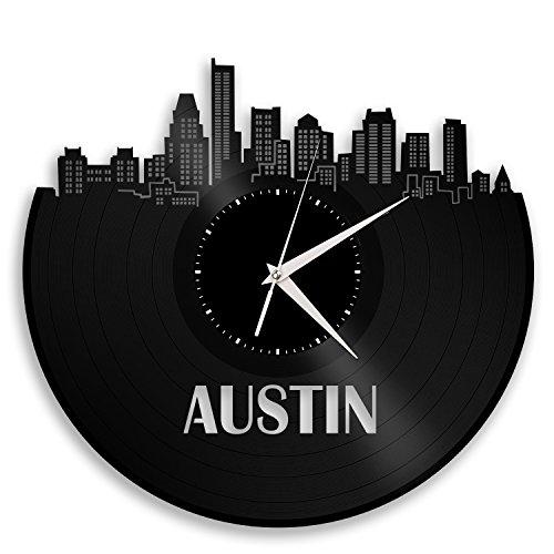 VinylShopUS Austin Skyline Vinyl Record Wall Clock Cityscape Art Cool Unique Gift for Men Women Birthday Anniversary Room Home Room Office Decor Review