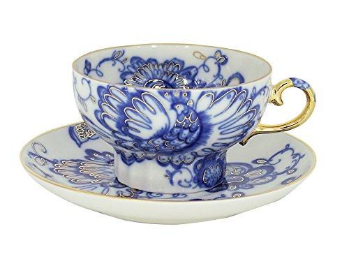 Lomonosov Porcelain Set Singing Garden 2pc Cup and Saucer 7.8 fl.oz/230 ml