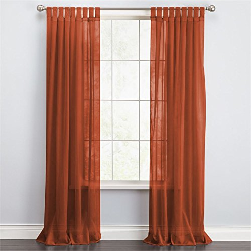 BrylaneHome Scenario Voile Tab-Top Panels (Autumn Leaves,60