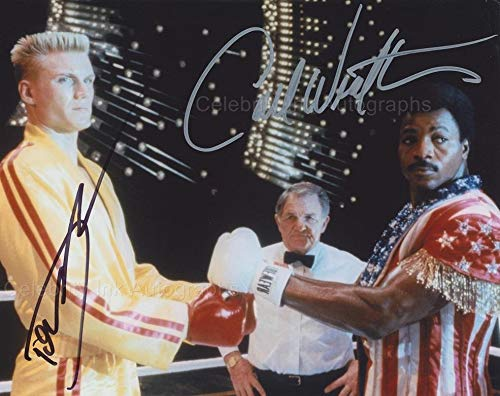 CARL WEATHERS and DOLPH LUNDGREN as Apollo Creed and Ivan Drago – Rocky GENUINE AUTOGRAPHS