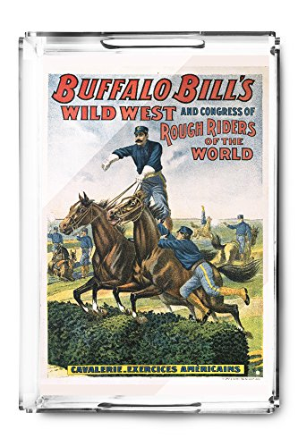 Buffalo Bill's Wild West - Cavalerie Exercices Americaines Vintage Poster France c. 1905 (Acrylic Serving Tray)