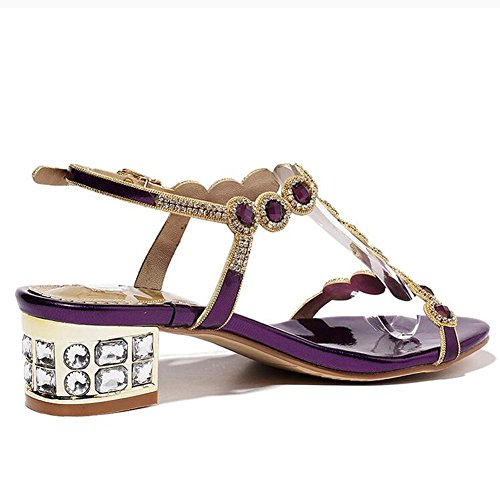 autumn Flat Word High YC Size Summer With The Dance Of The Of Heels Diamond L Size and With Rough Purple Cool The Women'S dSY8qSnv