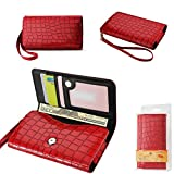 Wallet Red Alligator with Cash Pocket, Credit card slots and ID Window for Jitterbug TOUCH 2 smartphone. Comes with wrist strap.