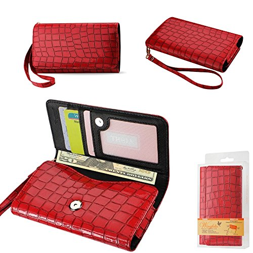 Wallet Red Alligator with Cash Pocket, Credit card slots and ID Window for Lenovo A588t. Comes with wrist strap.