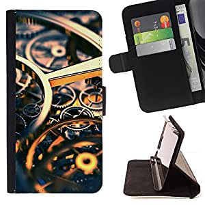 DEVIL CASE - FOR LG G2 D800 - Time Clock Gold Gears Engineering - Style PU Leather Case Wallet Flip Stand Flap Closure Cover