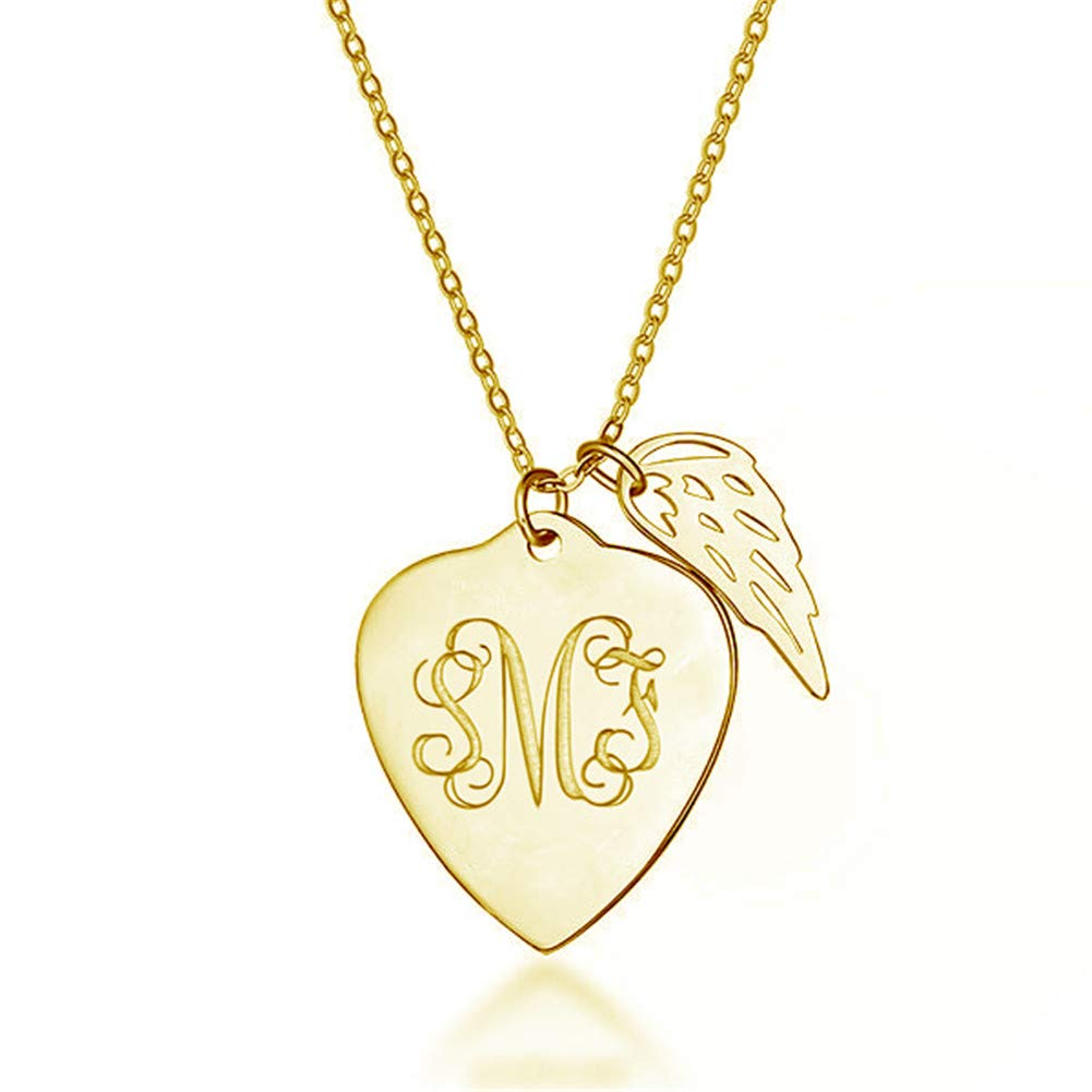 Elefezar Personalized 925 Sterling Silver Monogram Angle Wing Initial Necklace Custom 3 Initials