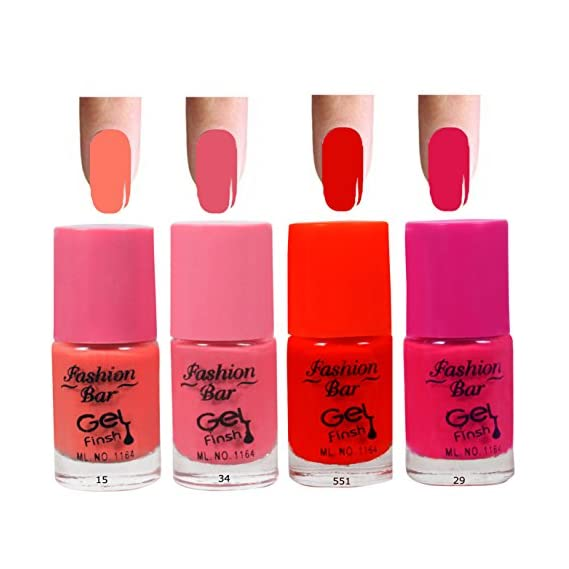 Fashion Bar 15 34 551 29 Nail Polish Combo,Peach Neon Pink, Neon Red,Redish Pink,20ml,Pack of 4