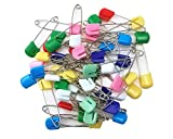 #10: yueton Pack of 50 Assorted Color Plastic Head Baby Safety Pins Safety Locking Baby Cloth Diaper Nappy Pins (Square)