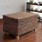 40 X 40 Ottoman HJYSQX Rattan Straw Storage Ottoman Stool, Storage Box Stool Shoe Bench Footrest Stool Foot Rest Poof Ottoman Foot stools Cube-B 30x40x50cm(12x16x20inch)