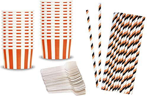 Halloween Paper Ice Cream Cups - 4 Ounce Treat Cup - Orange Striped - Wooden Spoons - Halloween Paper Straws - 24 Each]()